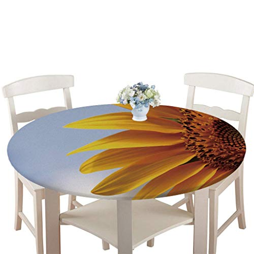 Rondes Imperméable Nappe avec Bord élastique, Treer 3D Anti-Taches Lavable Entretien Facile Nappes avec Fleur Plante Imprimé Nappe de Table pour Cuisine Picnic Party Jardin (Tournesol,100cm)