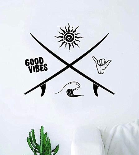 Adhesivo decorativo para pared, diseño de olas de Shaka con texto en inglés 'Surf Good Vibes', decoración de vinilo para adolescentes, tabla de surf oceánico, playa hawaiana Aloha