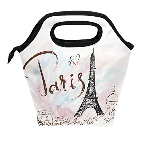 Wamika Fantastic Eiffel Tower Paris Romantic France Insulated Cooler Thermal Reusable Lunch Bags for School Children Students Girls BoysVintage Eiffel Tower England Style Lunch Box Bag Women Men