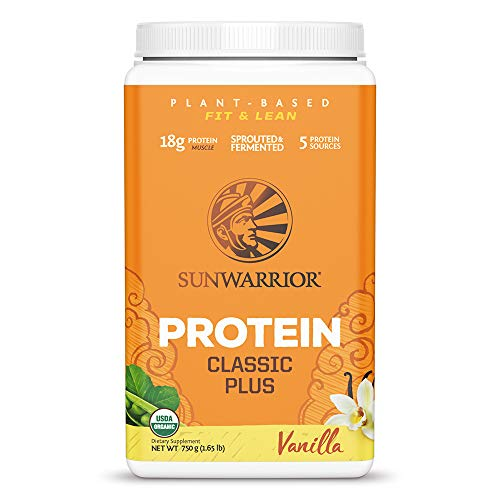 Sunwarrior Classic Plus Organic Vegan Protein Powder with BCAAs and Pea Protein (Vanilla, 30 Servings)