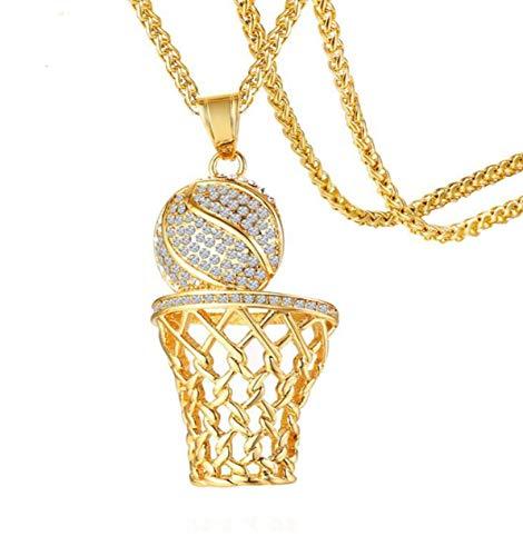 HIJONES Moda Deportes Baloncesto Callejero Encanto Chapado Oro Colgante Collar para Hombres Acero Inoxidable con Brillante Diamantes Imitación