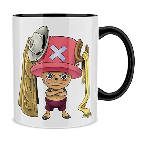 Okiwoki Mug avec Anse et intérieur de Couleur (Noir) - Parodie One Piece - Tony Tony Chopper - Etendage Pirate : (Mug de qualité supérieure - imprimé en France)