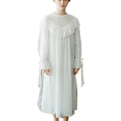Womens Victorian Casual Nightgown Vintage Princess Lounge Dress Luxury Nightrobe Sleepwear PJS