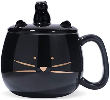 Koolkatkoo Cute Cat Coffee Mug with Cell Phone Holder Lid for Cat Lover Unique Ceramic Tea Mugs product image