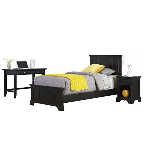 Bedford Black Twin Bed, Night Stand and Student Desk by Home Styles