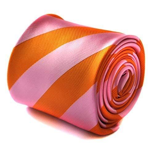 Cravate rayée orange et rose Frédéric Thomas avec motif floral signature à l'arrière
