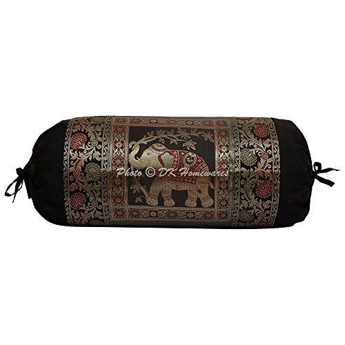 DK Homewares Indian Tradicional Casa Decoración 76X38 Cm Funda De Almohada De Meditación Seda Brocado Jacquard Floral Elefante Cilíndrico Funda De Cojín Cervical (Negro ; 30 X 15 Pulgadas) -1 Pc
