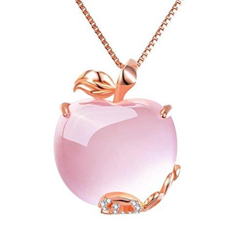 Kanggest Women Girl Necklace Fashion Elegant Apple Shape Necklace Chain Pendant Christmas Necklace Gem Jewellery Pendant Gift Set for Women Girl Children Kid (Pink)