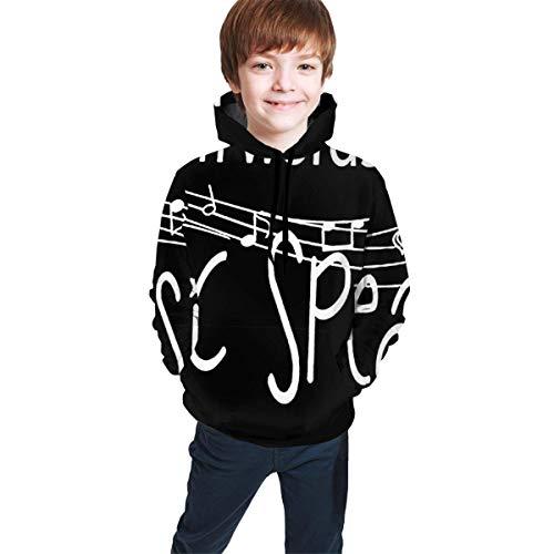 ONGH Wenn die Worte versagen, spricht die Musik Jungen Mädchen Hoodied Fleece Hoodie Jacke Hooded Sweatshirt Größe L