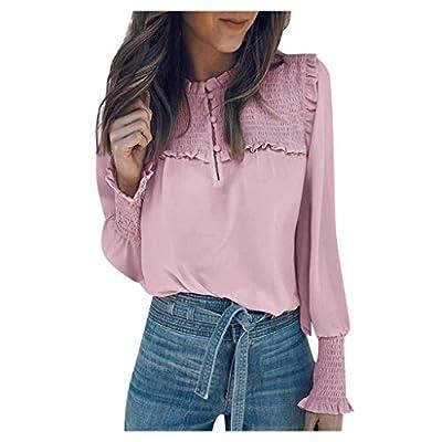 IJKLMNOP Womens Chiffon Casual Button Down Elastic Cuffs Tops Ladies Shirts Blouse Tunic Tops Loose Shirts Pink S