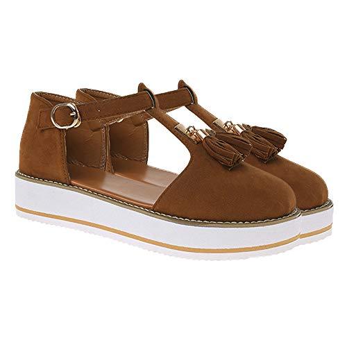 jdiw Sandalias de Mujer Tacón de Cuña Shoes Plataforma Verano Cuero Confort Zuecos Baotou Borla Hebilla Sandalias Calzado para Mujer