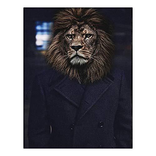 LiMengQi2 Lienzo de animales de Estilo Vintage pintura Elefante León gato carteles Con retrato e impresión imágenes de pared nórdicas para EL dormitorio de la sala de Estar(No Frame)