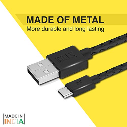 FLiX (Beetel) Durable USB to Type C Cable 2A Fast Charge (1 MTR) (Black) (XCD-C102 BLK)