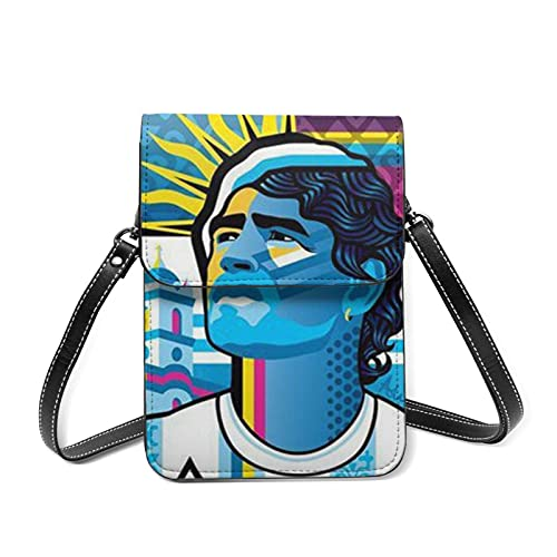 XCNGG Monedero pequeño para teléfono celular Small Crossbody Cell Phone Case Purse Blue Maradona Slim Bags Leather For Women Girls