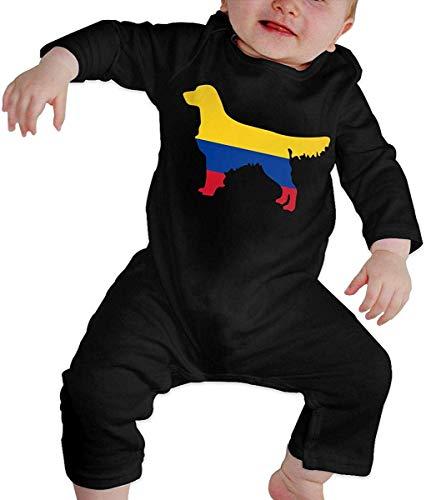 WlQshop Mono para Bebé,Mameluco Bebé Unisex Colombia Flag Golden Retriever Dogs Baby Boy Girl Long Sleeve Newborn Baby Bodies