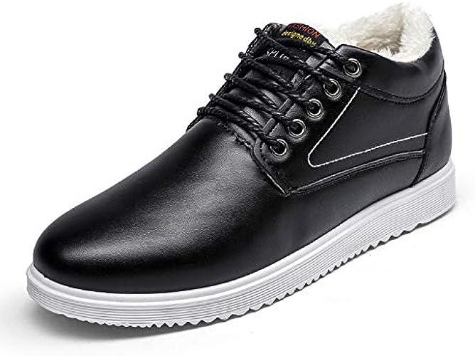 LOVDRAM Chaussures en Cuir pour Hommes Nouveau Sport en Coton pour Le Sport en Cours, Plus Chaussures en Coton Rembourré en Coton, Chaussures d'hiver Chaussures en Cuir pour Hommes
