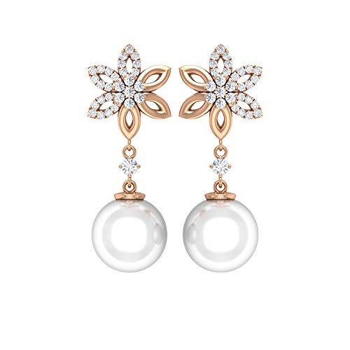 Rosec Jewels - Pendientes de diamante HI-SI de 0,32 quilates, 12 quilates, 9 mm, perlas de agua dulce 10K Oro rosa, Par