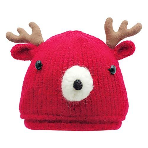 Topgrowth Cappello Natale Bambino Neonata Crochet Cartone Animato Inverno Berretti Bimbo Cervo Corno Cappello Lavorato A Maglia Bambino Caldo Berretto