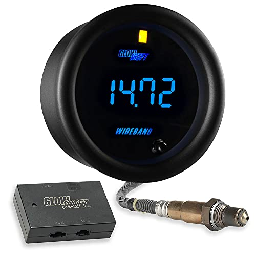 "GlowShift Black 7 Color Digital Wideband Air / Fuel Ratio AFR Gauge Kit - Includes Oxygen Sensor, Data Logging Output & Weld-in Bung - Multi-Color LED Display - Clear Lens - 2-1/16"" 52mm"