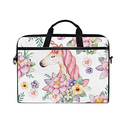 DOSHINE Laptop Bag Case Sleeve Floral Flower Animal Unicorn Pink Notebook Computer Bag for 14-14.5 inch Adjustable Shoulder Strap, Back to School Gifts for Men Women Boy Girls