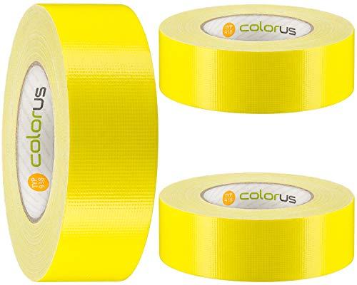 3 x Colorus Premium Betonklebeband 44 mm x 50 m | Gewebeband ultra robust, sehr gut abreißbar | Stein-Klebeband 14 Tage UV-beständig | Reparaturband mit hoher Klebekraft | Gaffa Tape Duct Tape