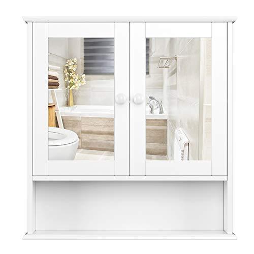 Armario Baño con Espejo Armario de Pared Armario Colgante Cocina 2 Puertas y 3 Estantes Madera Blanco 58x13x56cm