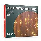SEGVA Cortina de luz LED, 6 m x 3 m, 600 luces LED, para salón, jardín, terraza, color blanco cálido