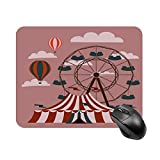 Mouse Pad Red Wheel Retro Fair Circus Carnival Fun Tent Vintage Festival Carousel for Office Computers Laptop Travel Gaming Working Studying Graphic Designers Gaming pc Felt Desk mat pzb 2025cm