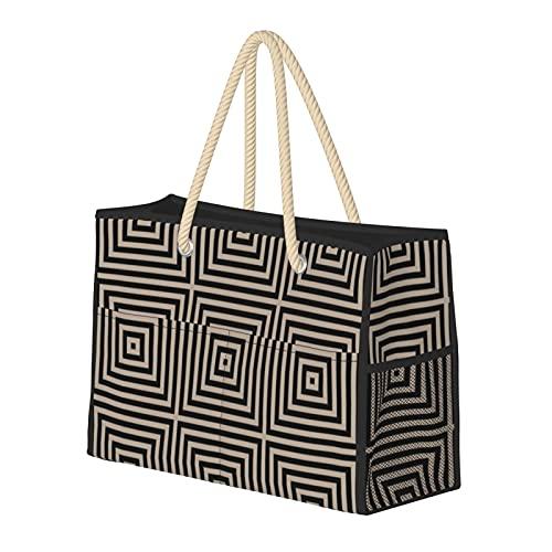 Bolsa de playa grande y bolsa de viaje para mujer – Bolsa de billar con asas, bolsa de semana y bolsa de noche – caja gris y negra