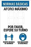 akrocard - Cartel Resistente PVC - SEÑAL DE AFORO PERSONALIZABLE con rotulador permanente - Señaletica COVID 19 medidas basicas de seguridad- señal Ideal para comercios, tiendas, locales
