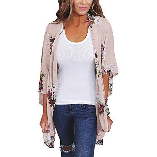 VEMOW Heißer Sommer Herbst Frauen Chiffon Lose Schal Print Kimono Cardigan Top Cover up Bluse Beachwear (X1-Beige, 58 DE / 3XL CN)