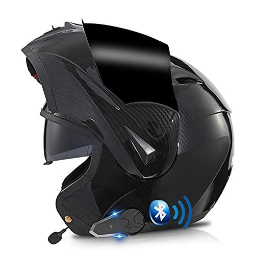 Casco de Moto Modular Integrado Bluetooth,Intercomunicador FM MP3 Incorporado Sistema de comunicación,Certificado ECE/Dot Adultos Casco Integral Modular Protector A,XS=53~54cm