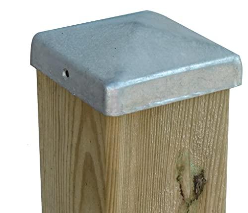 Verzinkte Pfostenkappe Pfostenabdeckungen Pfostenschutz als Abdeckkappe Zaunkappe für Holzpfosten 70 bis 120 mm Holzbalken, Pfosten für Holz-Zaun Holz-Schaukel (120 x 120 mm verzinkt)