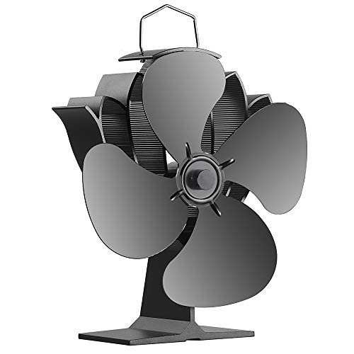 Morinoli Fireplace Fans Heat Powered Stove Fan for Log Wood Burner Wood Stove Fan 4 Blade -Eco Friendly and Efficient Fan,Black,Lotus Flower