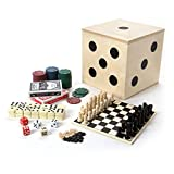Tri-Coastal Design Deluxe Travel Game Set - Includes Checkers, Chess, Dominoes, Backgammon, Double Sided Game Board, 2 Card Decks, 60 Poker Chips and 5 Dice