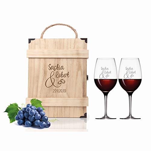 FORYOU24 2 Leonardo Weingläser mit Gravur | und Holz Geschenkbox Gravur Liebe | Geschenkidee zur Hochzeit Verlobung | Wein-Gläser graviert