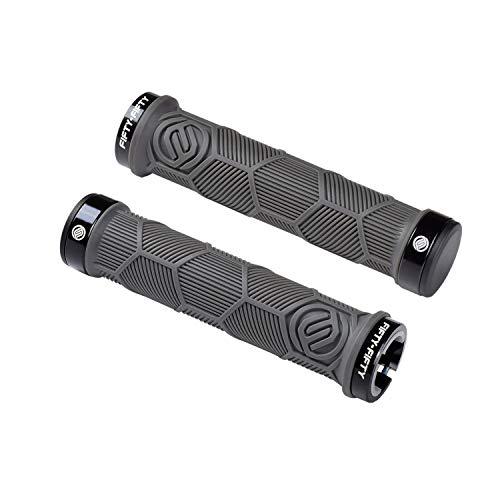 FIFTY-FIFTY Double Lock-On Mountain Bike Grips, Bicycle Handlebar Locking Grips, Non-Slip MTB Handle Grips (Grey)