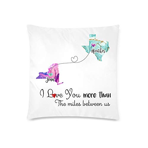 Personalized Pillowcase with Names - 18x18 - 20x30 - 20x36 Inch, Custom Long Distance Relationships Pillow Case Cushion Covers with Zipper for Best Friends Mom Aunt Couple State to State Pillowcase