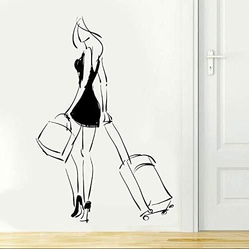 Moda niña mujer viajes viajes bolsas belleza etiqueta de la pared decoración del hogar niñas habitación dormitorio puerta calcomanías murales extraíbles A7 57x74cm