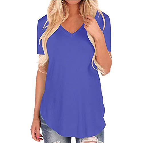 Camiseta de gran tamaño con cuello en V para mujer Camiseta holgada de talla Camiseta casual suelta Tops, de milano de manga corta con cuello en V Camiseta suelta con cuello en V informal Tops Camisas