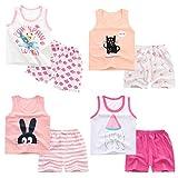 XM-Amigo 8 Pack De Bébé Filles sans Manches T-Shirt Débardeurs Pantalons Courts Ensembles De Vêtements, Âge (18-24 Mois)