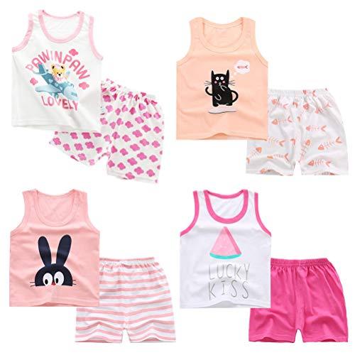 XM-Amigo 8 Pack de niños Niñas Bebés Niñas Chaleco sin Mangas Camisetas Interiores Camisetas sin Mangas Suaves Edad 3-4 años (Altura Recomendada del niño:100-110 cm)