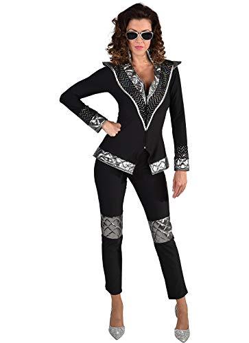 narrenkiste Disfraz de reina para mujer M220193-M, color negro y plateado, talla M = 40
