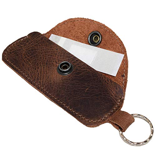 Hide & Drink, Leather Band Aid Holder / Key Ring / Holder / First Aid Accessories / Personal Care / Runner, Handmade Includes 101 Year Warranty :: Bourbon Brown
