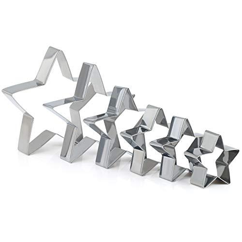 Le formine per biscotti sono realizzate in acciaio inossidabile, anticorrosione e resistente Dimensioni: 6.6 / 7.8 / 8.6 / 10.2 / 13 / 14.5 cm di diametro; altezza: 2,5 cm Facile da pulire, basta passare sotto l'acqua calda e asciugare con un asciuga...