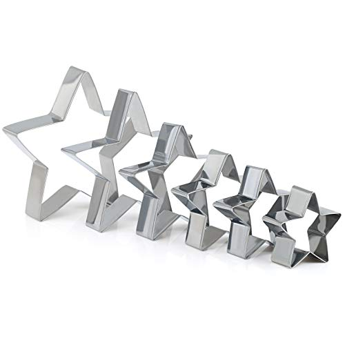 GWHOLE Star Cookie Cutters Set Cookie Tree Cutter for Kids Birthday Holiday Party, Set of 6