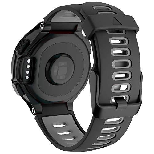 Pulseira ajustável de silicone macio para esportes de substituição compatível com as pulseiras Forerunner 735XT 220 230 235 620 630 para acessórios Garmin Smart Watch, Black Grey