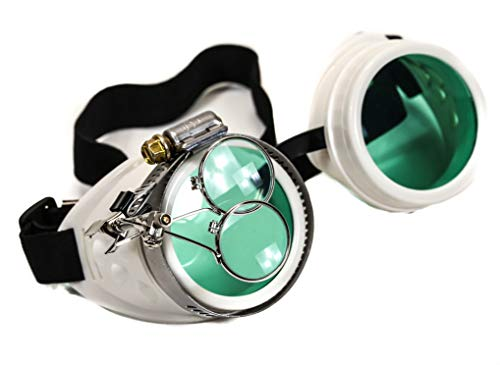 Valvetcrow White Steampunk Victorian Style Goggles Colored Lenses & Ocular Loupe Mad Scientist (Green)