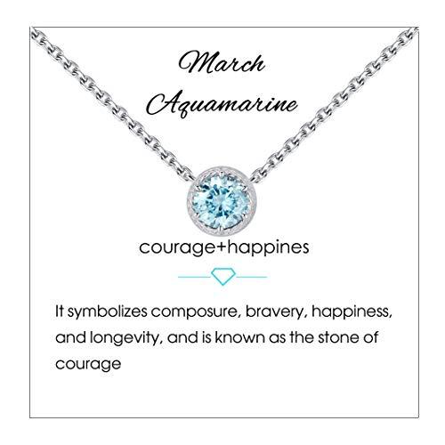 Qings Collar de Piedra de Nacimiento de Marzo Plata de Ley 925 Aguamarina Piedra de Nacimiento de Piedra Preciosa Collares Colgante Collares de Mujer para Mujer Cumpleaños