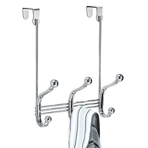 "iDesign 53070 York Lyra Steel Over-The-Door 6-Hook Storage Rack - 8.38"" x 5.25"" x 11"", Chrome"